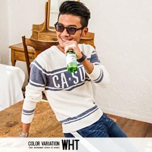 CavariA キャバリア ロゴジャガード編み カラーフェード クルーネック 長袖ニットソー 全2色 ニットソー メンズ カラーフェード rrp