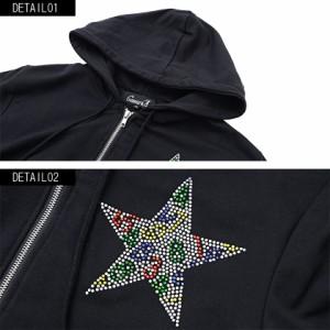 CavariA キャバリア ライトストーン付き 長袖 ジップアップ パーカー 全2色 メンズ スカル 星柄 スター柄 スウェット M L ストリート ttp