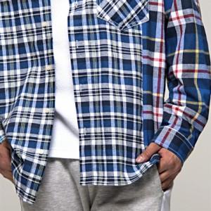 CavariA キャバリア チェック柄 切替 ビッグシルエット 長袖 シャツ 全2色 メンズ トップス クレイジーシャツ オーバーサイズ ビター hq