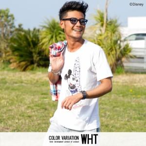 CavariA キャバリア DISNEY コレクション サーフ ミッキー プリント クルーネック 半袖 Tシャツ 全2色 メンズ ディズニー ユニセックス