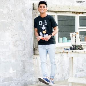 CavariA キャバリア DISNEY コレクション ミッキー 箔プリント クルーネック 半袖 Tシャツ 全2色 メンズ ディズニー ユニセックス M L