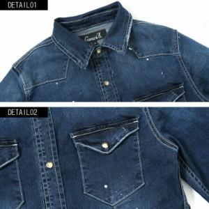 CavariA キャバリア ペンキ飛ばし加工 長袖 デニムシャツ 全2色 メンズ ストレッチ カジュアルシャツ トップス インディゴ ブルー M L