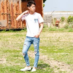 CavariA キャバリア デニムポケット付き クルーネック 半袖 Tシャツ 全3色 メンズ プリント ペンキ ポケット ペイズリー柄 バンダナ柄
