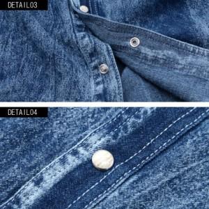 CavariA キャバリア ワイヤー入り ウォッシュ加工 七分袖 デニムシャツ 全2色 メンズ ウエスタンシャツ トップス インナー 羽織り M L