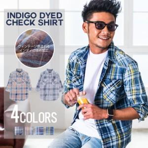 CavariA キャバリア 先染め チェック柄 七分袖 シャツ 全4色 チェックシャツ メンズ ネルシャツ インディゴ 青 春 夏 M L トップス