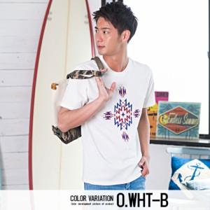 SALE CavariA キャバリア ネイティブ柄 ブロック 刺繍 クルーネック 半袖 Tシャツ 全4色 メンズ トップス エスニック サーフ系 M L