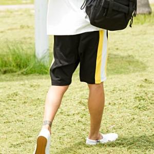 CavariA キャバリア サイドライン スウェット ショート パンツ 全4色 即日配送 メンズ 膝上 ショーツ ハーフパンツ トリコロールカラー