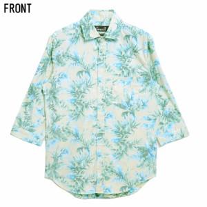 CavariA キャバリア 国産 ボタニカル柄 裏使い 七分袖 シャツ 全2色 即日配送 メンズ 日本製 リゾート 柄シャツ 総柄 キレイめ 春夏
