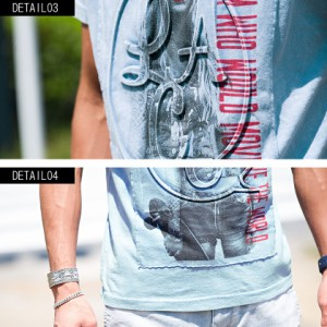 CavariA キャバリア 別布 ガールズフォト プリント エンボス加工 クルーネック 半袖 Tシャツ 全2色 即日配送 メンズ M L サックス