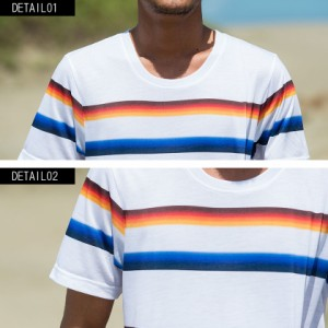 CavariA キャバリア グラデーション ボーダー柄 クルーネック 半袖 Tシャツ 全2色 即日配送 メンズ 春夏 ホワイト M L サーフ系