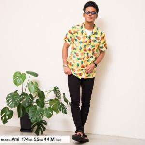 CavariA パイナップル柄 オープンカラー レーヨン 半袖 シャツ 全2色 即日配送 メンズ 開襟 アロハシャツ 柄シャツ トップス 春 夏