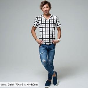 CavariA キャバリア ウィンドペン Vネック 半袖 Tシャツ 全2色 即日配送 メンズ チェック ブラック ネイビー キレイめ 細身  M L
