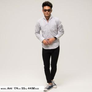 CavariA キャバリア ストライプ柄 イタリアンカラ— 長袖 シャツ 全2色 即日配送 メンズ トップス ボーダー ドレス 長袖 ホワイト