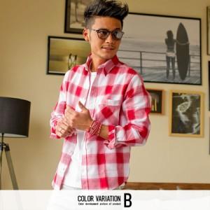 VICCI ビッチ チェック柄 レギュラーカラー ワッフル 長袖 シャツ 全8色 チェックシャツ メンズ トップス 綿麻 レギュラーカラー sq