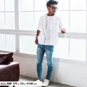 VICCI ビッチ 七分袖 デニム ウエスタンシャツ 全5色 メンズ トップス 7分袖 七分袖 カジュアル シンプル 定番 無地 インディゴ ブルー
