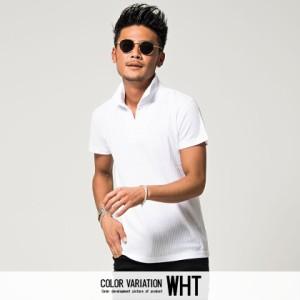VICCI ビッチ テレコ 半袖 ポロシャツ 全6色 メンズ シアサッカー シンプル 無地 おしゃれ 父の日 ギフト M L プレゼント ホワイト