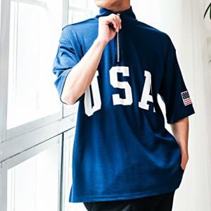 SALE VICCI ビッチ USA プリント スタンドカラー ハーフジップ 半袖 Tシャツ 全4色 カットソー メンズ トップス ハイネック 星条旗 ロゴ