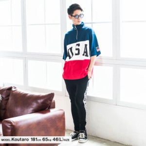 VICCI ビッチ USA プリント 切替 スタンド カラー ハーフジップ 半袖 Tシャツ 全3色 トップス メンズ スエット USA  ビックシルエット