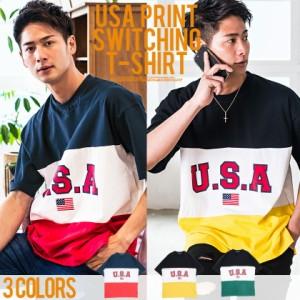 VICCI ビッチ 切替配色 ビッグシルエット クルーネック 半袖 Tシャツ 全3色 メンズ USA プリント ロゴ 切替 大きめ オーバーサイズ