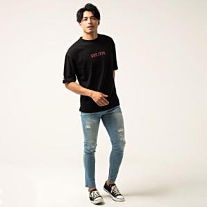 VICCI ビッチ 天竺 ロゴ プリント クルーネック ビッグシルエット 半袖 Tシャツ 全3色 即日配送 メンズ ゆるT カットソー ロング 天竺