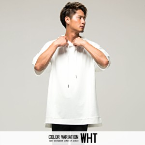 VICCI ビッチ フード付き ビッグシルエット 6分袖 Tシャツ 全6色 即日配送 メンズ 六分袖 オーバーサイズ 大きめ ゆったり 無地 シンプル