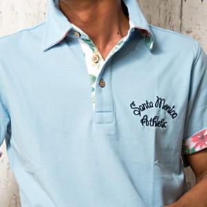 VICCI ビッチ ボタニカル柄 鹿の子 ポロシャツ 全4色 即日配送 メンズ 半袖 ワンポイント 刺繍 花柄 シンプル 父の日 ギフト プレゼント