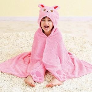 ミキハウス アニマルシリーズ フード付バスタオル ウサギ