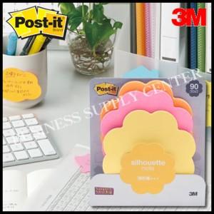 【メール便可能】3M(スリーエム) ポスト・イット 強粘着ノート シルエットデザインシリーズ<69×69mm/30枚×3色> SSS-FL(フラワー)