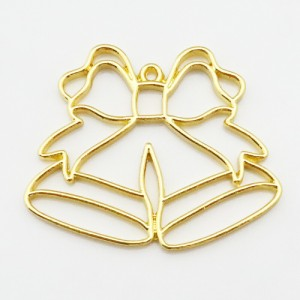 (1594) レジン フレーム(ミール皿・セッティング台)クリスマス ベル オーナメント リボン Xmas