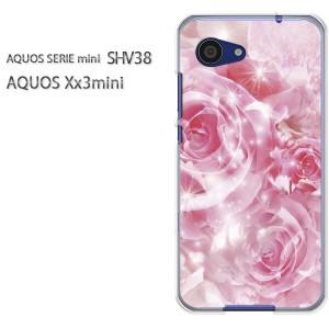 ゆうパケ送料無料スマホケース ハード SHV38 AQUOS Xx3 mini アクオス クリア  [花・バラ(ピンク)/shv38-pc-ne060]
