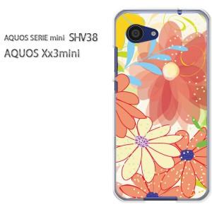 ゆうパケ送料無料スマホケース ハード SHV38 AQUOS Xx3 mini アクオス クリア [花(オレンジ)/shv38-pc-new0022]