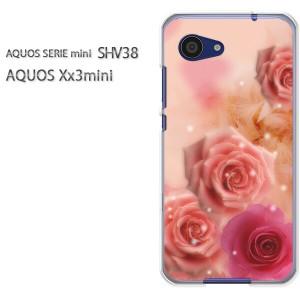 ゆうパケ送料無料スマホケース ハード SHV38 AQUOS Xx3 mini アクオス クリア 花・バラ(ピンク)/shv38-pc-new0425]