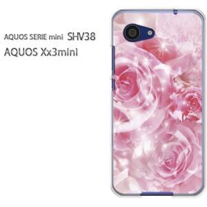 ゆうパケ送料無料スマホケース ハード SHV38 AQUOS Xx3 mini アクオス クリア 花・バラ(ピンク)/shv38-pc-new0450]