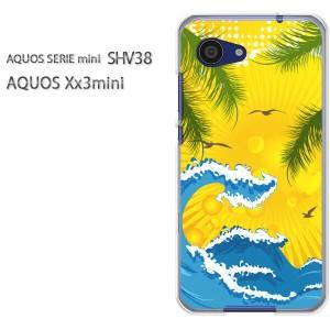 ゆうパケ送料無料スマホケース ハード SHV38 AQUOS Xx3 mini アクオス クリア 夏・シンプル・海(ブルー・黄)/shv38-pc-new0792]
