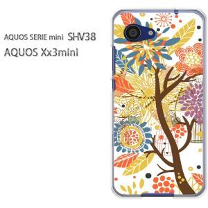 DM便送料無料スマホケース ハード SHV38 AQUOS Xx3 mini アクオス クリア [花(白)/shv38-pc-new1321]