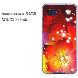 ゆうパケ送料無料スマホケース ハード SHV38 AQUOS Xx3 mini アクオス クリア 花・キラキラ(赤)/shv38-pc-new1424]
