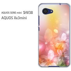 ゆうパケ送料無料スマホケース ハード SHV38 AQUOS Xx3 mini アクオス クリア 花(ピンク)/shv38-pc-new1425]