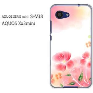 DM便送料無料スマホケース ハード SHV38 AQUOS Xx3 mini アクオス クリア [花(ピンク)/shv38-pc-new1428]