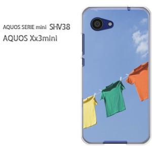 ゆうパケ送料無料スマホケース ハード SHV38 AQUOS Xx3 mini アクオス クリア [シンプル・Tシャツ(ブルー)/shv38-pc-new1497]