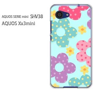 ゆうパケ送料無料スマホケース ハード SHV38 AQUOS Xx3 mini アクオス クリア [花・ドット(ブルー)/shv38-pc-new1758]