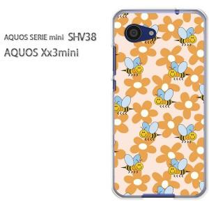 ゆうパケ送料無料スマホケース ハード SHV38 AQUOS Xx3 mini アクオス クリア 【蜂・フラワー118/shv38-PM118】