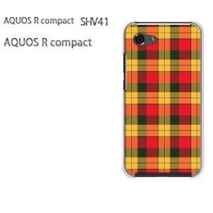 ゆうパケ送料無料 スマホケース ハード AQUOS R compact SHV41 アクオス クリア 【チェック3(赤)/shv41-M858】