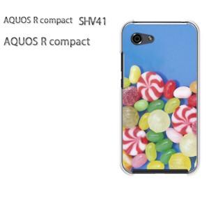 ゆうパケ送料無料 スマホケース ハード AQUOS R compact SHV41 アクオス クリア  [スイーツ・キャンディー・青/shv41-pc-ne048]