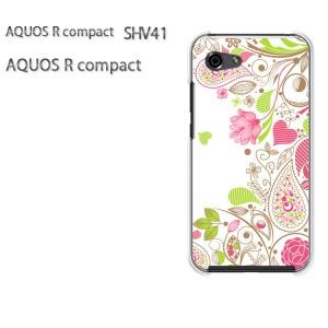 ゆうパケ送料無料 スマホケース ハード AQUOS R compact SHV41 アクオス クリア  花・ハート(ピンク)/shv41-pc-ne090]
