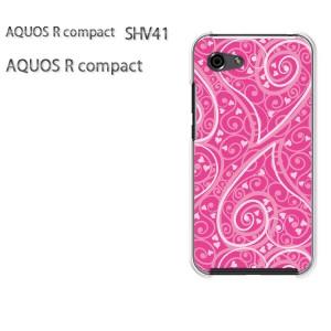 ゆうパケ送料無料 スマホケース ハード AQUOS R compact SHV41 アクオス クリア  [ハート(ピンク)/shv41-pc-ne125]
