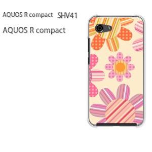 ゆうパケ送料無料 スマホケース ハード AQUOS R compact SHV41 アクオス クリア  花・ドット(ベージュ)/shv41-pc-ne171]