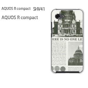 ゆうパケ送料無料 スマホケース ハード AQUOS R compact SHV41 アクオス クリア  [ニュースペーパー・シンプル(グレー)/shv41-pc-ne192