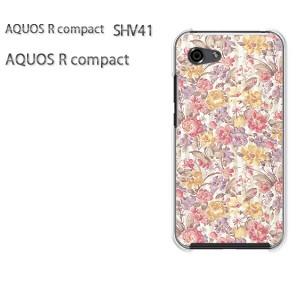 ゆうパケ送料無料 スマホケース ハード AQUOS R compact SHV41 アクオス クリア 花(赤・黄)/shv41-pc-new0214]