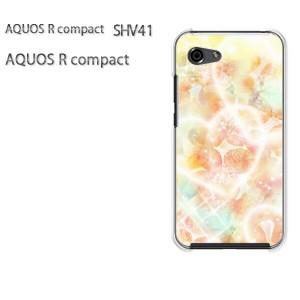 ゆうパケ送料無料 スマホケース ハード AQUOS R compact SHV41 アクオス クリア [ハート・花(黄)/shv41-pc-new0426]