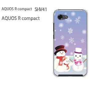 ゆうパケ送料無料 スマホケース ハード AQUOS R compact SHV41 アクオス クリア 冬・シンプル・雪だるま・結晶(紫)/shv41-pc-new0831]